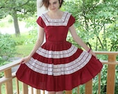 Vintage 1950 39 s Bettina Of Miami Burgundy Dress With Lace Trim