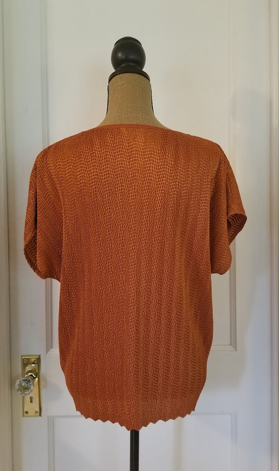 Vintage 1990's Harvest Orange Tan Jay Short Sleev… - image 7
