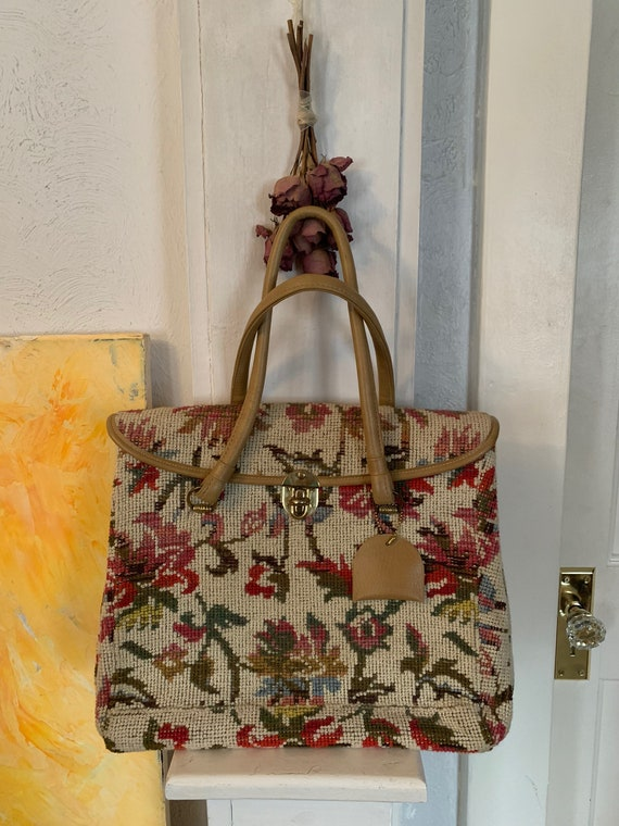 Vintage 1950's - 1960's Floral Tapestry Carpet Bag