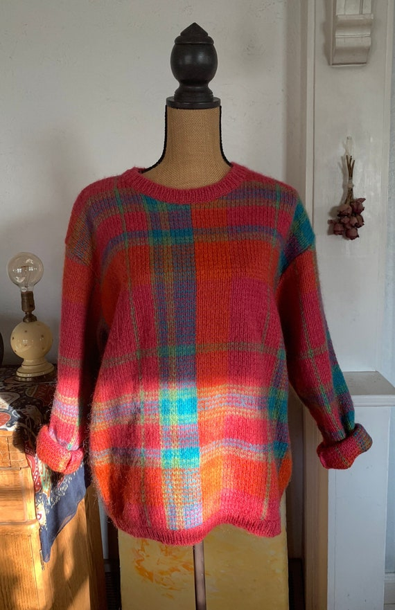 Vintage 1980's Gallagher Plaid Mohair And Wool Ble