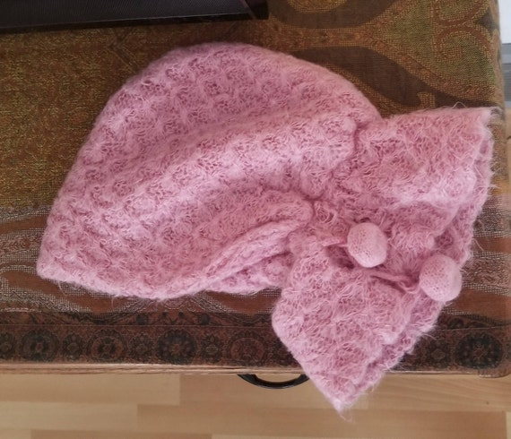 Vintage 1950's - 1960's Dusty Rose Hood / Hat With