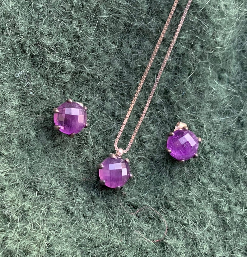 Free Shipping Stunning Vintage 1980/'s Sterling Silver And Amethyst Neckalce And Earring Set