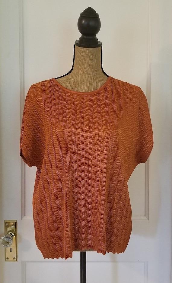 Vintage 1990's Harvest Orange Tan Jay Short Sleev… - image 1