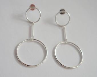 Double Loop Earrings, Ring Hoop Charm Studs, Sterling Silver