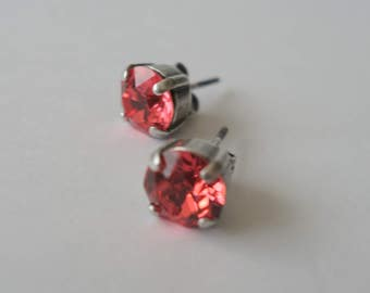 a625bf2ab Swarovski Earrings, Antique Silver Plated , Prong Set Padparadscha Crystal  Studs