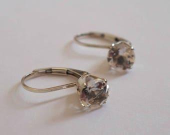 White Topaz Leverback Earrings, Sterling Silver
