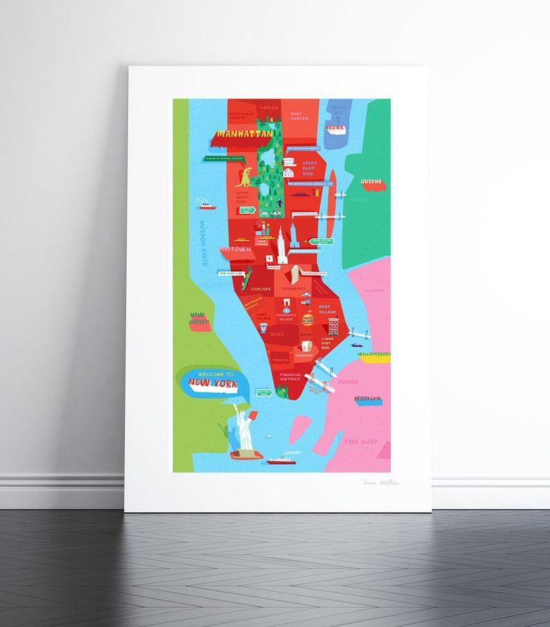 New York Manhattan Map : Large hand-signed artist's image 0