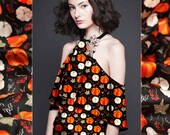 Pumpkin Vegetable Leaf Print Black Stretch Silk Satin Fabric for Fashion Width 53 inch