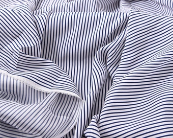 925f1d1f55ad34 White Navy Blue Striped Print Pure Silk Charmeuse Fabric for Dress Kimono  Width 55 inch