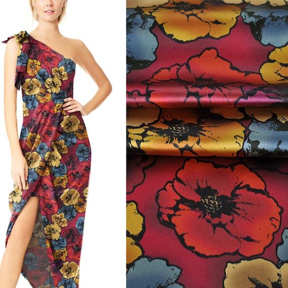 Elegant Flowers Stretch Silk Satin fabric by the Yard Width 46 inch A33