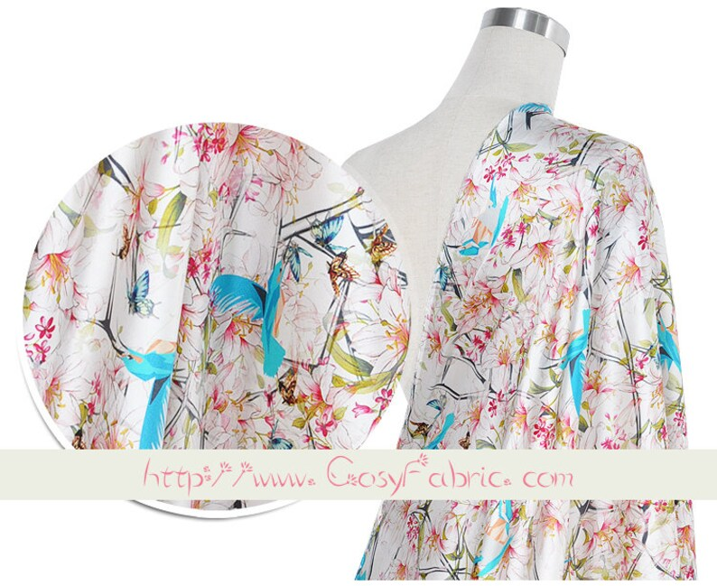 Large Scale Floral and Blue Bird Print White Stretch Silk Satin Fabric Width 44 inch