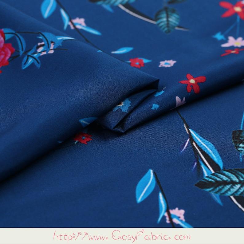 Blue fabric small flower pattern printing fabric 100/% Silk Crepe de Chine  fabric  Width 54 inch