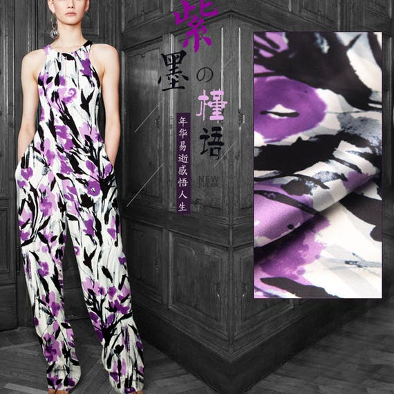 Watercolor Floral Print Stretch Silk Satin Apparel Fabric Width 46 inch