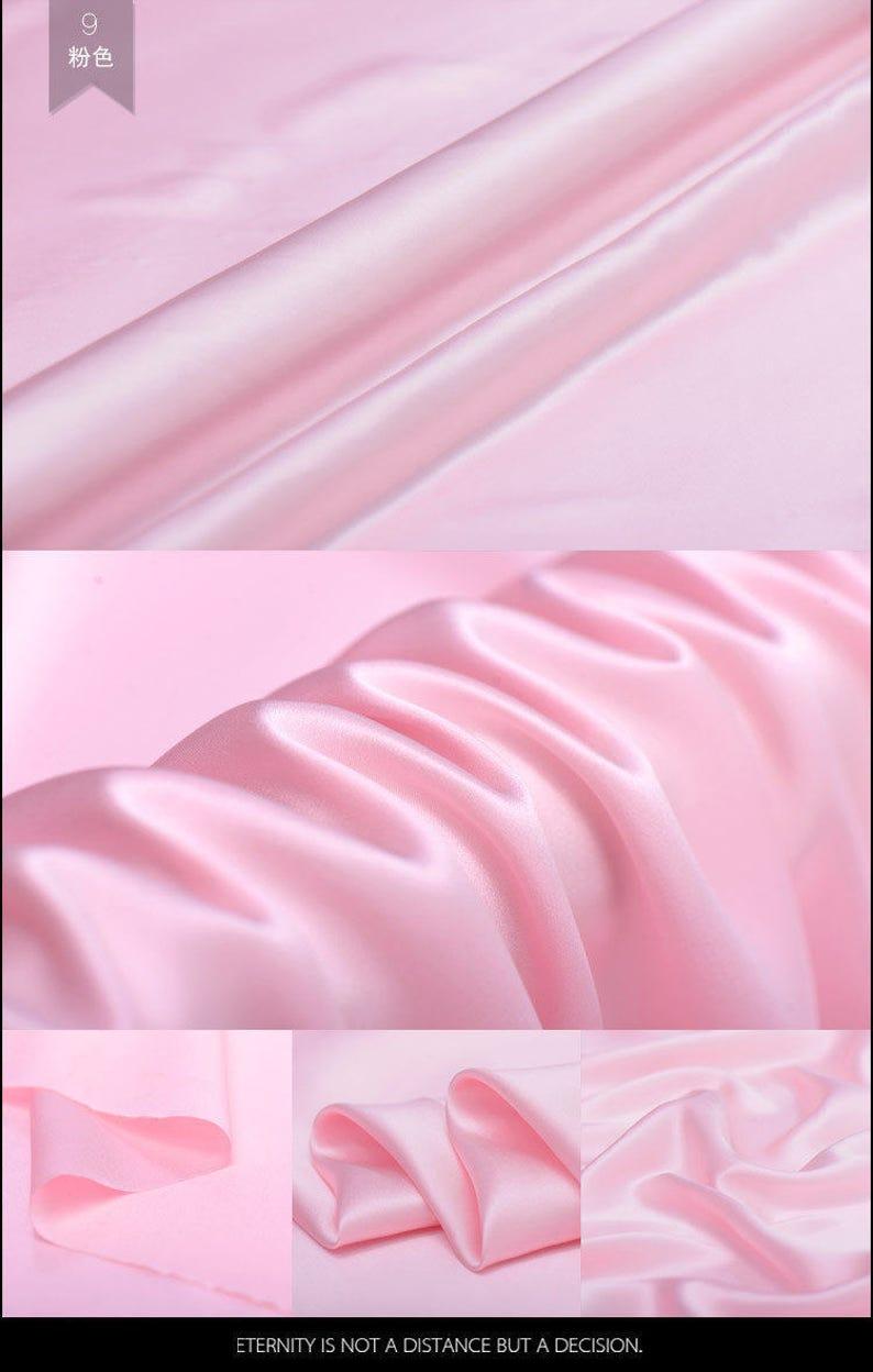 807b3aea43880 Solide Rosa 100% Reine Seide Crepe Krepp Satin Stoff Meterware