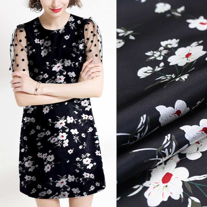 White Small Floral Print Black Stretch Silk Satin Fabric for Dress Width 42 inch