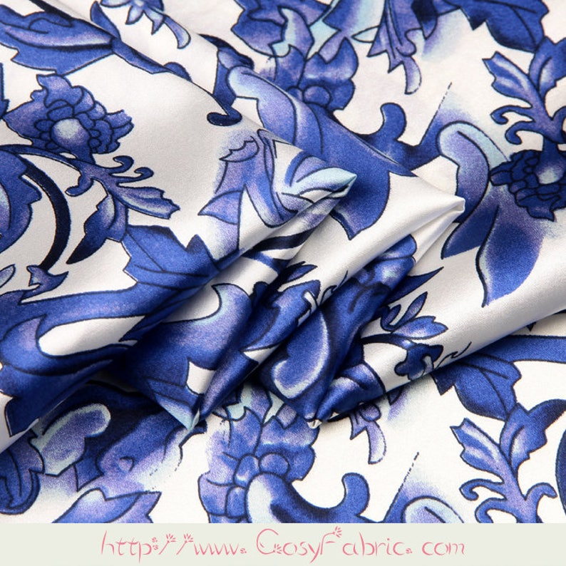 Blue Large Scale Floral Chinoiserie Print White Stretch Silk Fabric Width 46 inch
