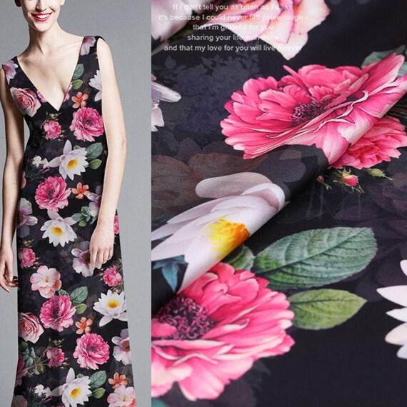 Blumen Blätter Druck Stretch Seide Satin Stoffe Stoff für Kleidung 108 cm Breite