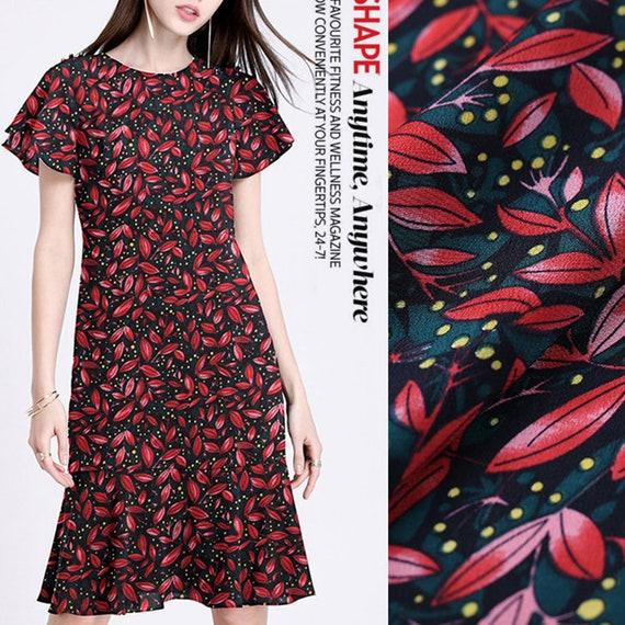 9f8fc20019 Leaf Foliage Print 100% Pure Silk Crepe de Chine Fashion
