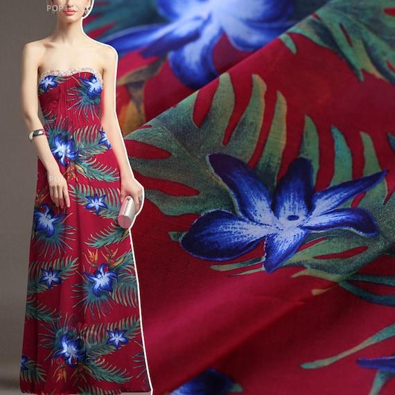 ea7c035c8d26 Vintage Rot Seide Baumwolle Stoff mit Tropische Botanische   Etsy