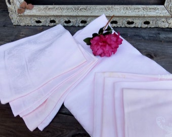 Vintage Table Linens, Tablecloth w/Matching Linen Napkins set of 8 PINK Linen or Dinner Napkins, Table Linens