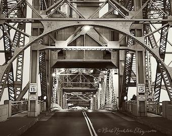 Canal Bridge at Night - Duluth - City Photography - Fine Art Print - 8x12 Print - Minnesota - Lines - Iron -Film Look - Black & White