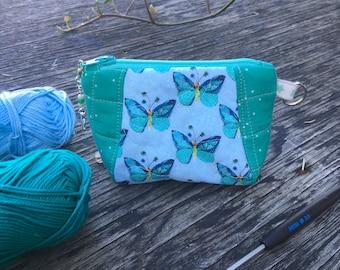 "Quilted pouch ""Butterflies"" / Zipper bag / Coin purse / Notions pouch"