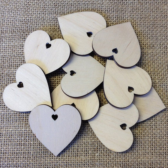 50 Laser Cut Wooden Blank Hearts for Arts /& Crafts Write A Message You Like Or D