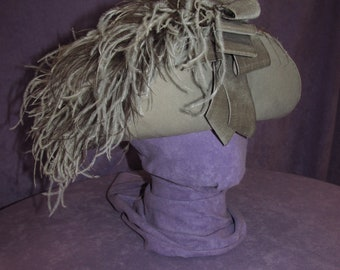 6d5a719d7eb99 Antique Edwardian Hat Grey Straw Feather 1900s 1910s Turn of Century  Suffragette 1904 World Fair Vintage Historical Free Domestic Shipping