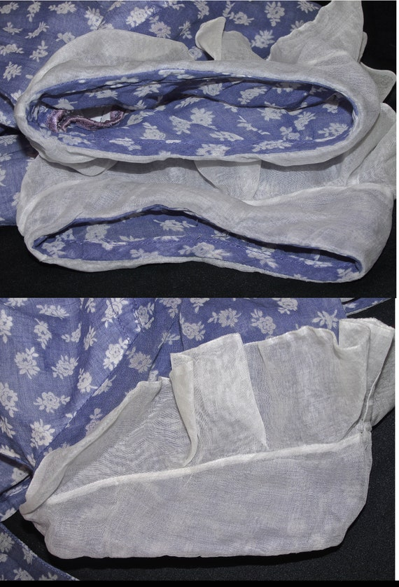 30s Cotton Floral Print Vintage Dress Purple Whit… - image 6