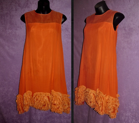 Vintage Two Piece Dress Back Zipper Top 1960/'s Attached Orange Chiffon Scarf Sleeveless Fitted Ivory Knit Small