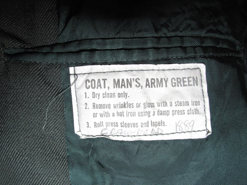 Man/'s  Wool Serge Coat AG-44 #DLA100-80-C-2817 Army Vintage Jacket sz 36 Military Vietnam Army Green  Late 50s  60s 70s 80s 90s 00s