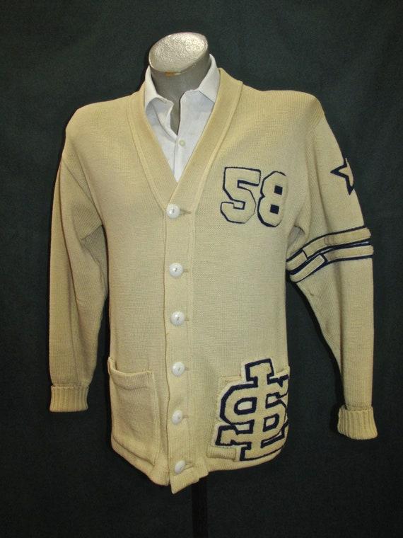 Vintage Classic Letterman Sweater Lanza Cream Blue