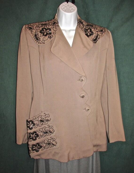40s Beaded Camel Tan Vintage Jacket by Linada Orig