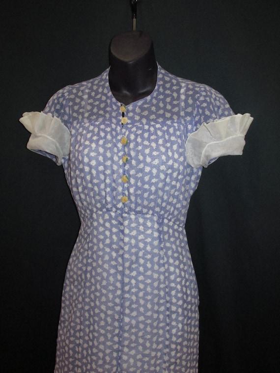 30s Cotton Floral Print Vintage Dress Purple Whit… - image 8