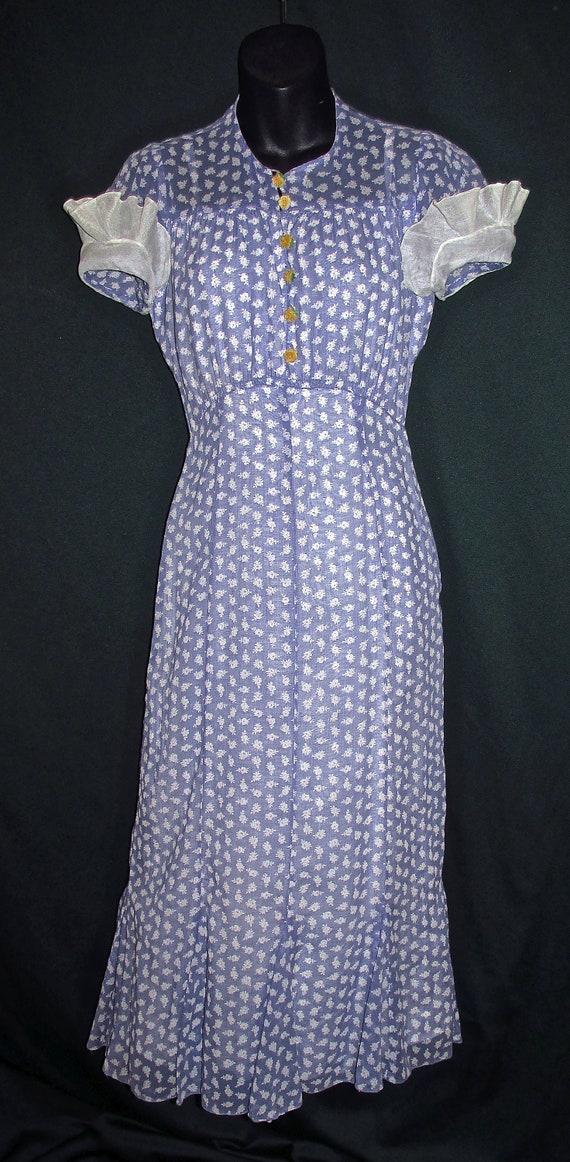 30s Cotton Floral Print Vintage Dress Purple Whit… - image 2