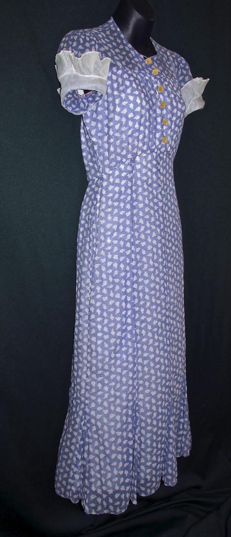 30s Cotton Floral Print Vintage Dress Purple White