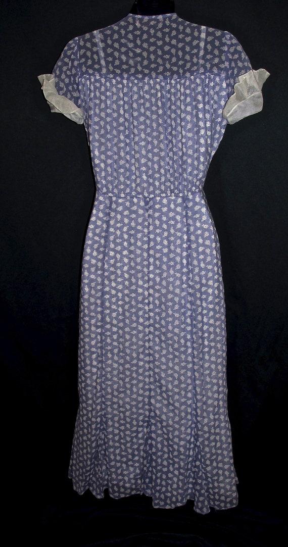 30s Cotton Floral Print Vintage Dress Purple Whit… - image 3