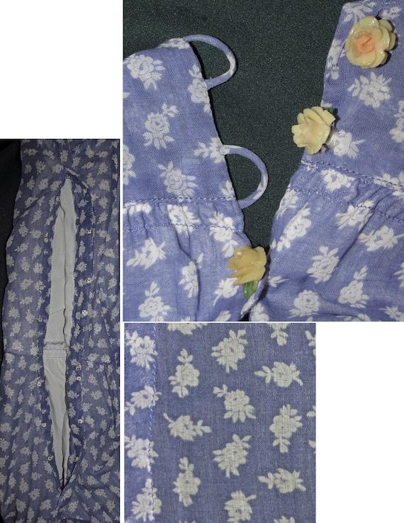 30s Cotton Floral Print Vintage Dress Purple Whit… - image 7