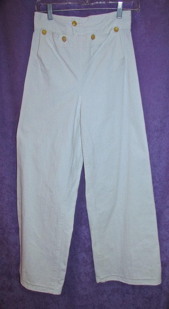 Vintage Classic White Sailor Pants size 26 Trouser