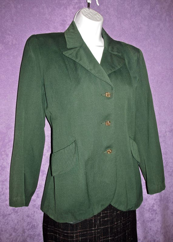1940s Classic Green Gabardine Vintage Jacket by Zim 30s 50s Old Hollywood WWII Blazer New Look Nipped Waist 30/'s Free Domestic Shipping