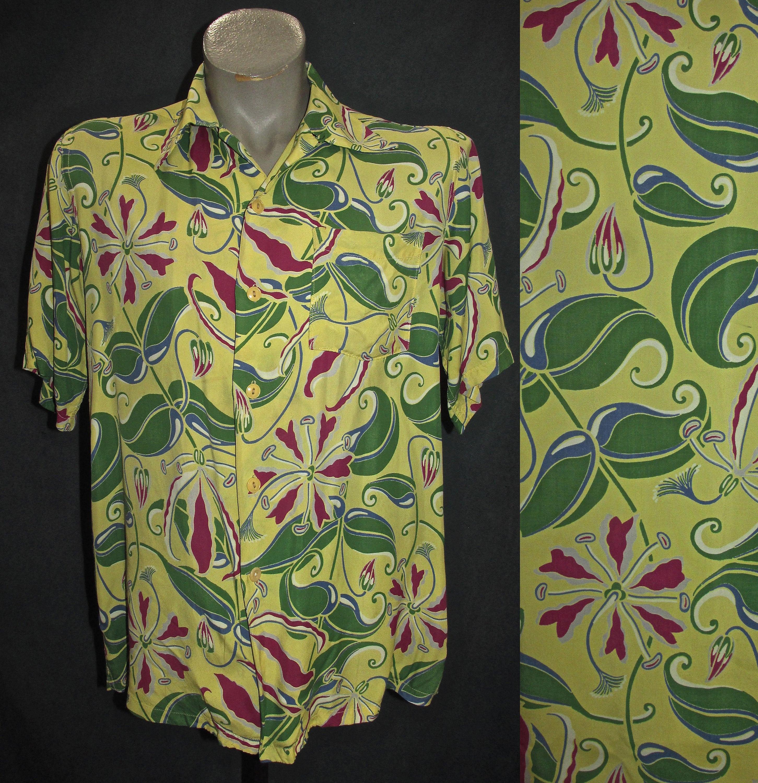 1950s Mens Hats | 50s Vintage Men's Hats Vintage Hawaiian Rayon Print Shirt 40S Rockabilly Beach Wear California Hawaii Island Wwii Sz 38-41 Tropical Yellow 50S 60S 70S 80S $498.75 AT vintagedancer.com