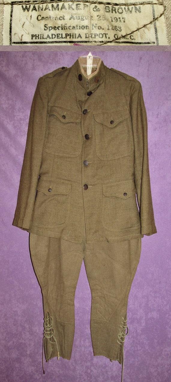 WWI Army Rare Uniform Wool  1917 Jacket Breeches