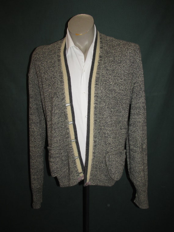 Vintage Classic Letterman Sweater Grey  Cream Athl