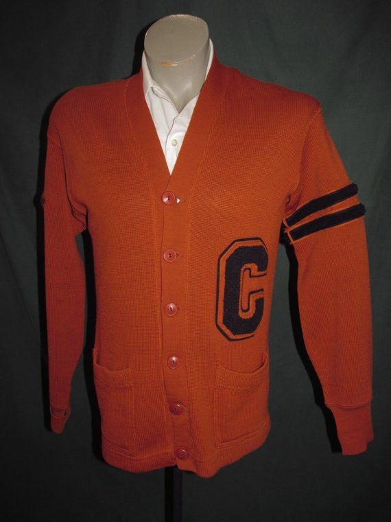 Vintage Classic Letterman Sweater40 Dark Orange Na