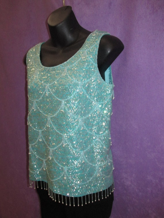 Classic Vintage Top Teal Sequin Beaded Sweater Sle