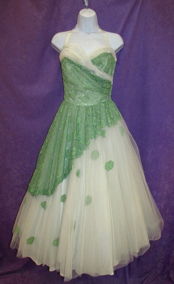 White Green Strapless Vintage Evening Gown by Will