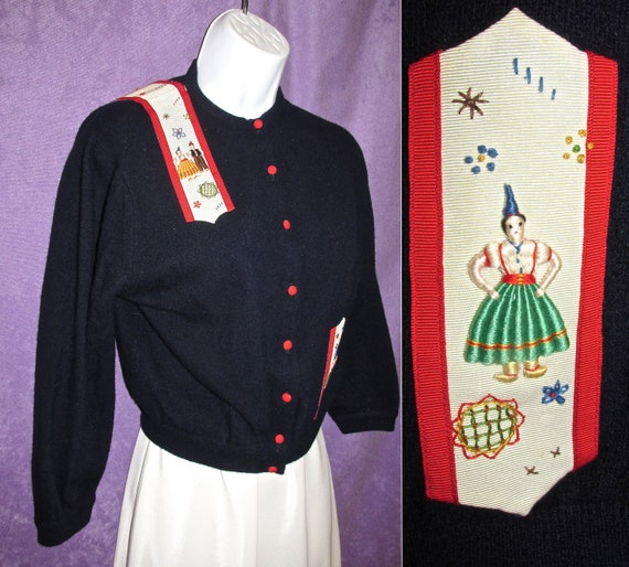 Classic Vintage Cardigan Navy Blue and folk people