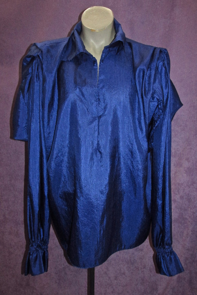 Vintage Costume Shirts Bright Colors 80s Sz M-XXL Period Style 1800s Pirate Peasants Wise Men 1600s 1700s Royal Blue Navy Purple Maroon Red