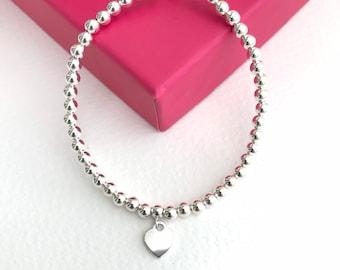 Silver ball bracelet with a heart, sliding ball clasp, 4mm sterling silver ball bracelet, stacking bracelet, 925 silver adjustable bracelet.