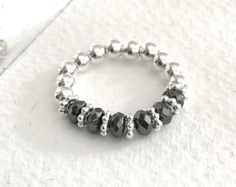 Bead ball ring, sterling silver stretch ring, sparkly hematite ring with daisy spacers, stretch fit.